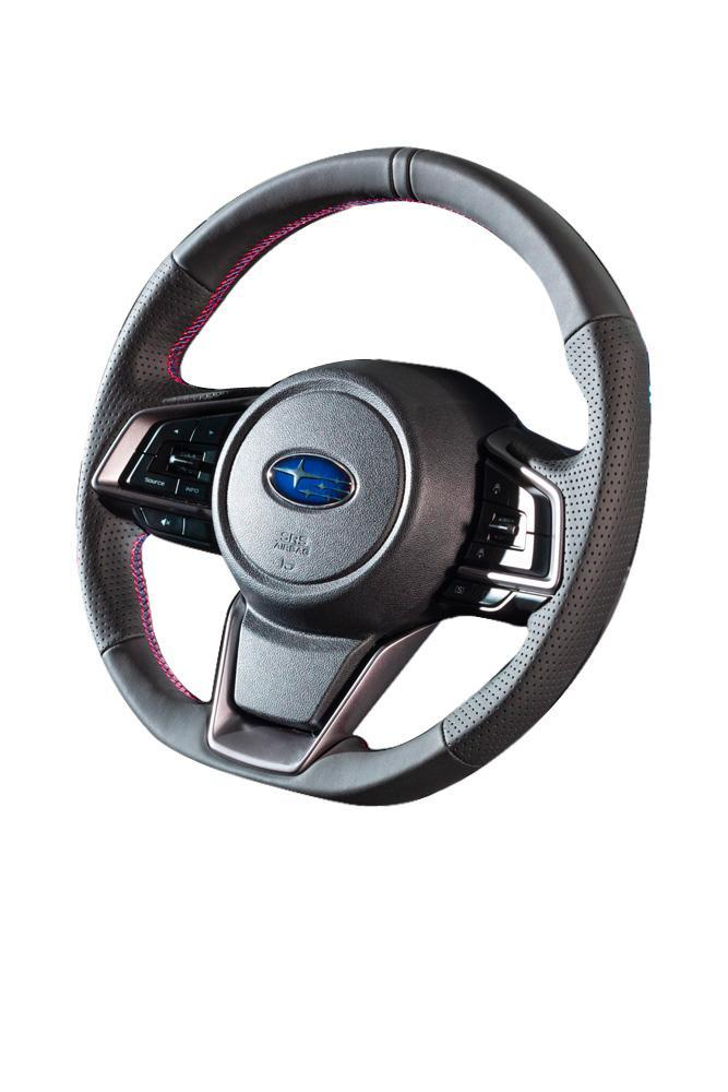 DAMD Red/Blue Stitch D-Shape Steering Wheel - 2018+ Legacy/ Outback, 2018+ Crosstrek, & 2019+ Forester