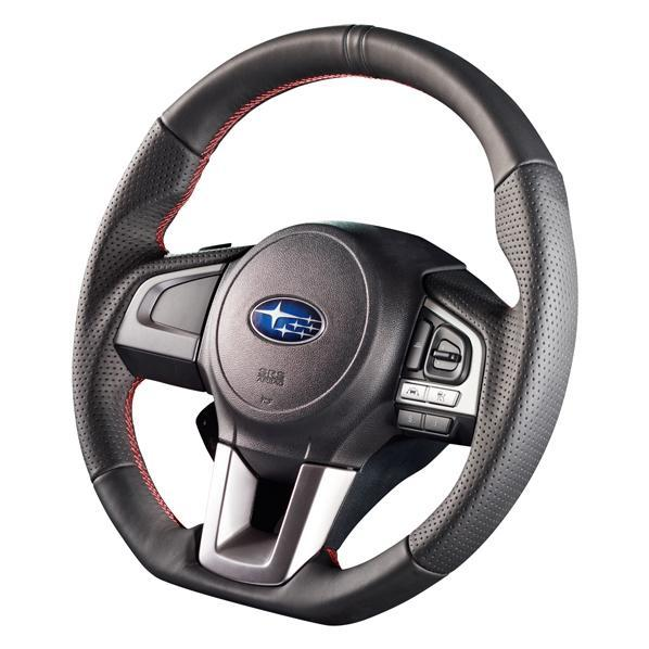 Damd  Red Stitch D-Shape Steering Wheel - Legacy/ Outback, Forester, Crosstrek 2015+
