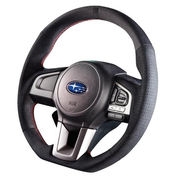 Damd Red Stitch D-Shape Suede Steering Wheel - Legacy/ Outback, Forester, Crosstrek 2015+