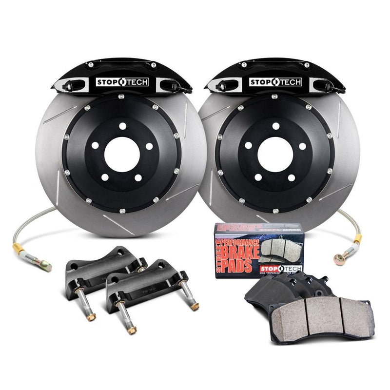 StopTech Front Big Brake Kit for the Honda CR-Z ZF1 ZF2 in Black with Zinc Coated Slotted Rotors