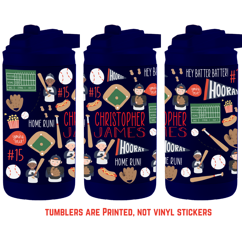 12oz Insulated Bottle - Baseball Tumbler