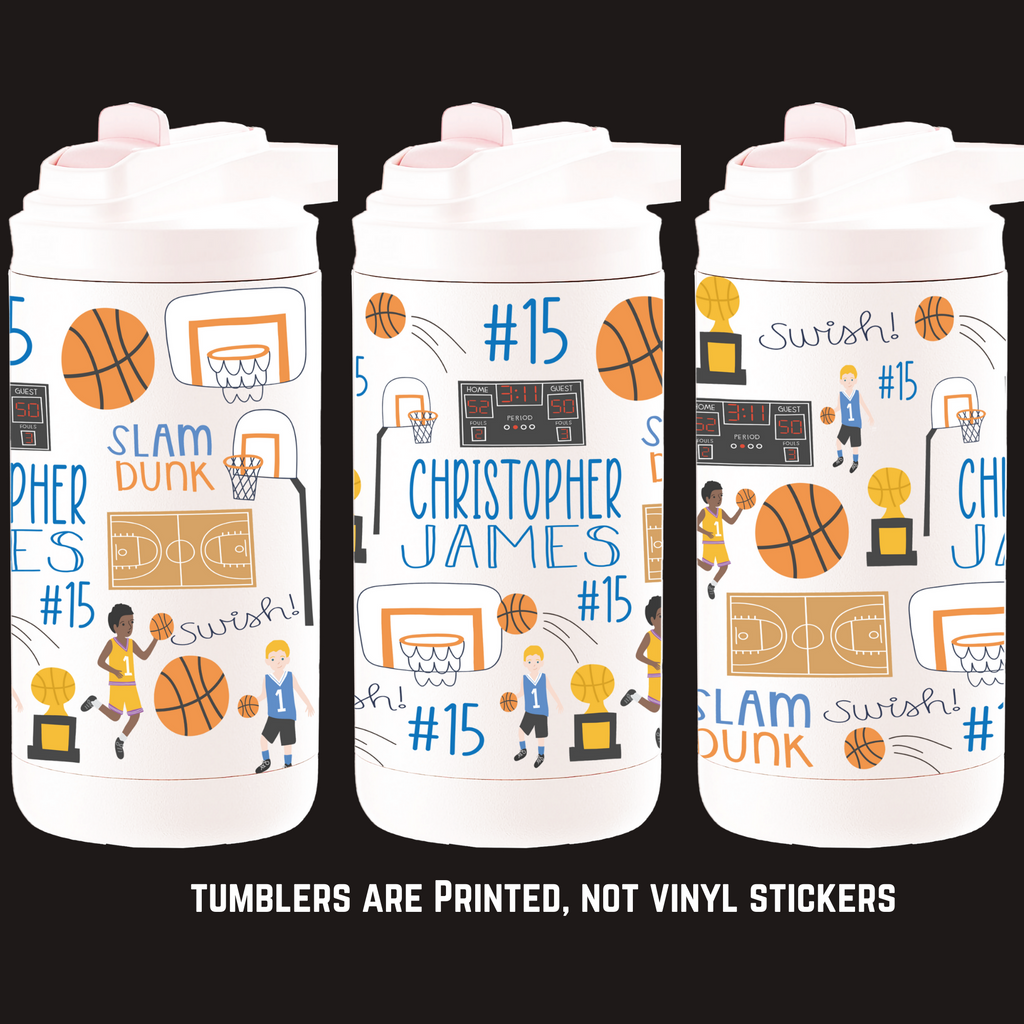 12oz Insulated Bottle - Basketball Tumbler