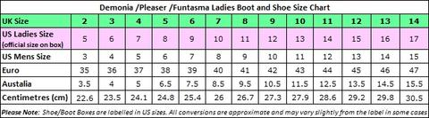 Fabulicious Shoes Size Chart