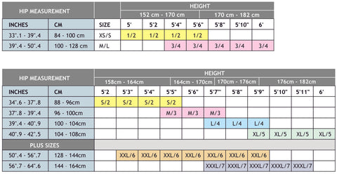 Gabriella Size Chart - Stockings, Tights and Holdups