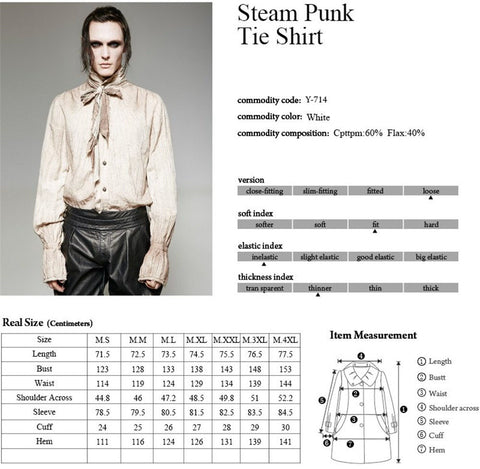 Mens Punk Rave Bedouin Steampunk Shirt Y-714 Size Chart 2
