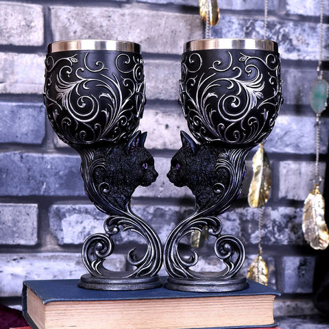 Hex of the Heart Goblet Gothic Cats Goblet Set