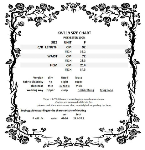 Dark in Love KW119 Size Chart