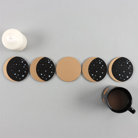Moon Phases 5-Piece Coaster Set