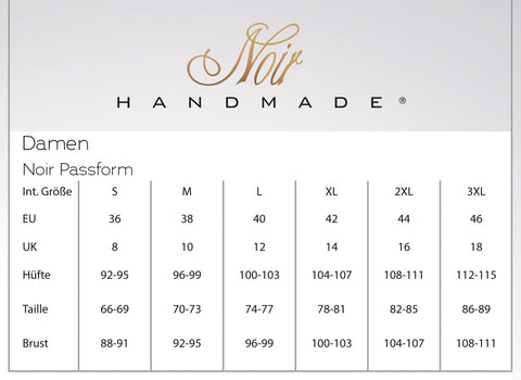 Noir Handmade Dress Size Chart