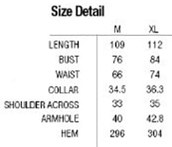 Punk Rave Arya Dress Q-252 Size Chart