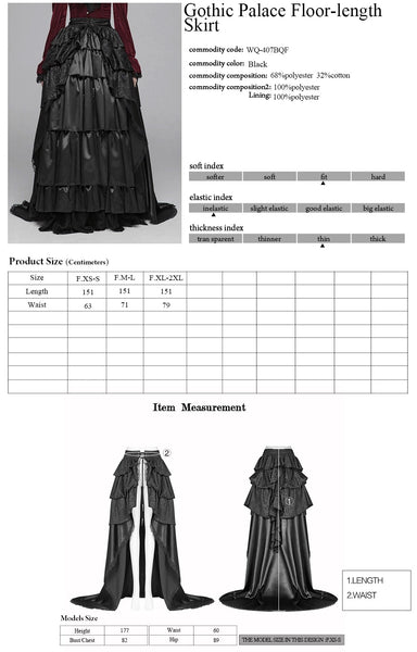 Punk Rave Syrens Song Overskirt Size Chart