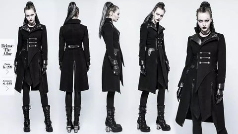 Y-791 Gothic punk patch work woolen women long black winter coats