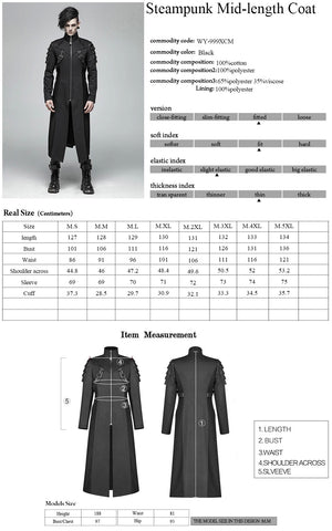 Punk Rave Warrior Coat WY-999 Size Chart