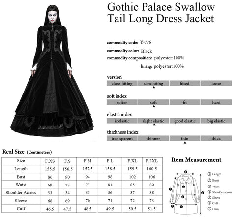 Punk Rave Red Vampire Queen Coat Y-776 Size Chart 2