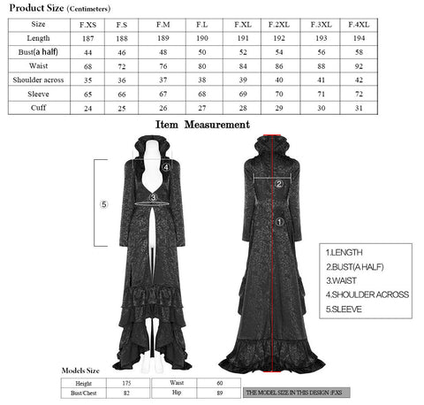 Punk Rave Obsidian Queen Coat WY-1137 Size Chart