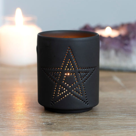 Pentagram Cut Out Tealight Holder
