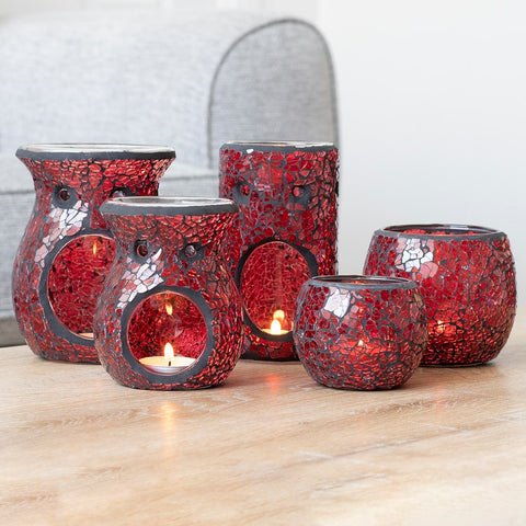Small Red Crackle Glass Oil Burner Size