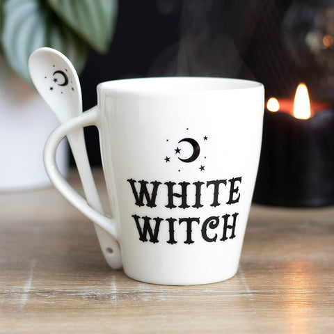 White Witch Mug and Spoon Set