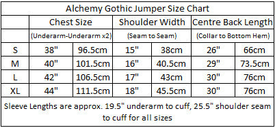 Alchemy Christmas Jumper Size Chart