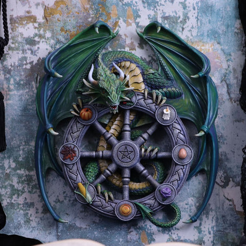 Anne Stokes Year of the Magical Dragon Pagan Wheel of the Year Wall Plaque.