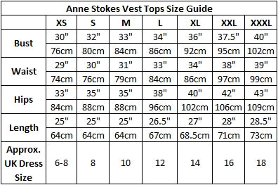 Anne Stokes Vest Top Size Chart