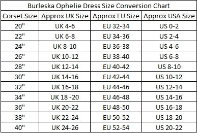 Burleska Ophelie Dress Size Conversion Chart