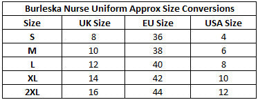 Burleska Nurse Uniform Size Chart