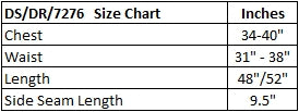 Dark Star Polysilk Dress Size Chart
