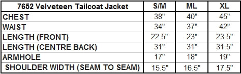 Dark Star Jacket Size Chart