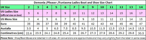 Demonia and Pleaser Size Chart