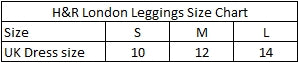 H&R London Leggings Size Chart