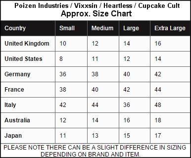 Cupcake Cult Size Chart