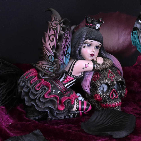 Lolita Purple Gothic Fairy Figurine with Day of the Dead Skull