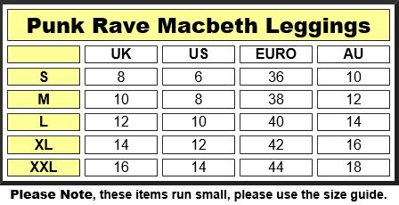 Punk Rave Macbeth Leggings Size Chart