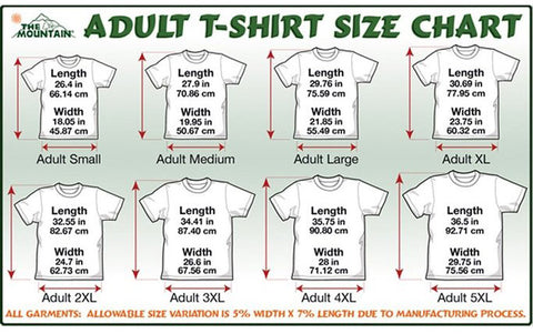 Mountain t-shirt size chart