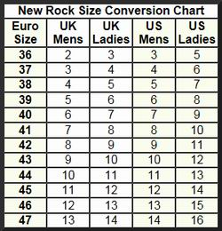 New Rock Boots Size Chart