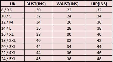 Phaze Ladies Size Chart