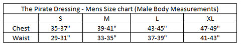 Pirate Dressing Mens Size Chart
