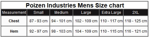 Poizen Industries Mens Size Chart