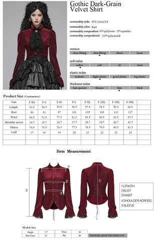 Punk Rave Maeve Red Shirt WY-1041 Size Chart