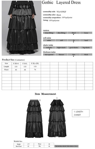 Punk Rave Syrens Song Skirt WQ-428 Size Chart