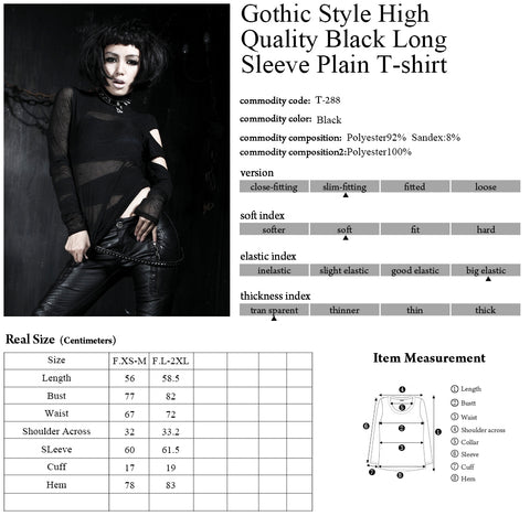 Punk Rave Blackwidow Top T-288 Size Chart 2