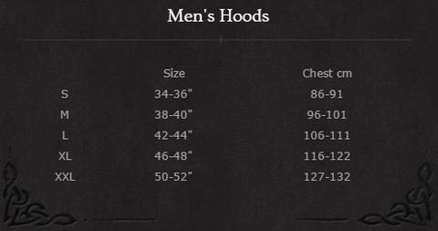 Spiral Hoody Size Chart