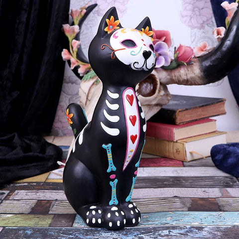 Sugar Skulls Kitty / Day of the Dead Cat with Triple Heart Decoration by Nemesis Now