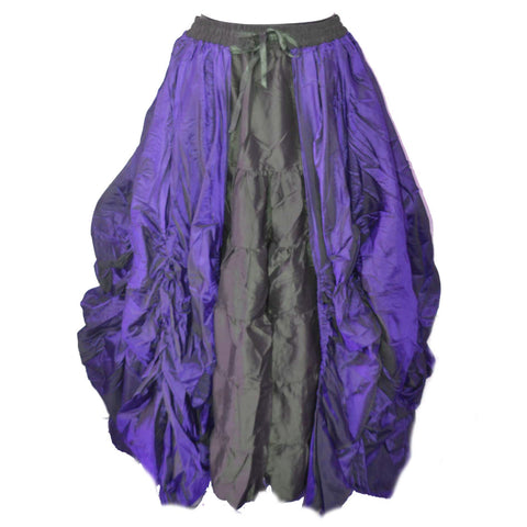Dark Star Gothic Skirt,  Poly Silk Double Layer Skirt - Purple / Black | Angel Clothing