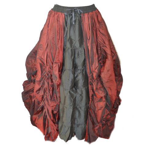 Dark Star Gothic Skirt,  Poly Silk Double Layer Skirt - Maroon / Black | Angel Clothing