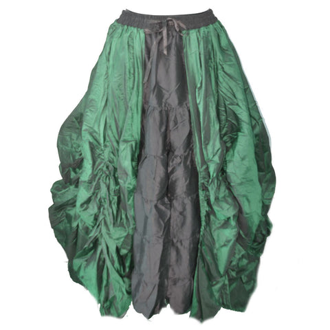 Dark Star Gothic Skirt,  Poly Silk Double Layer Skirt - Green / Black | Angel Clothing