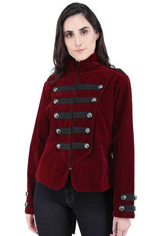 Dark Star Maroon Gothic Military Tailcoat | Angel Clothing