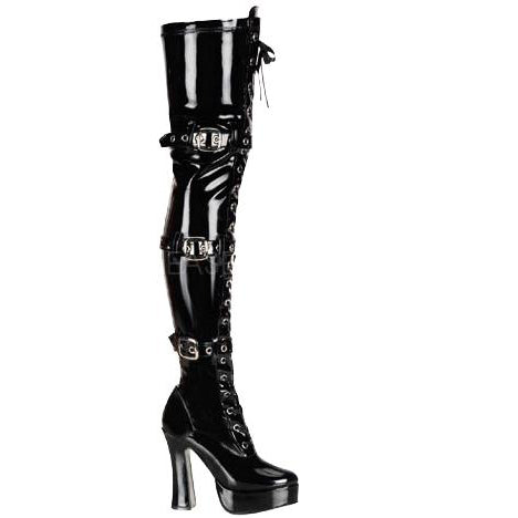 Pleaser Boots Black Patent PVC Thigh Boots - Electra 3028 | Angel Clothing