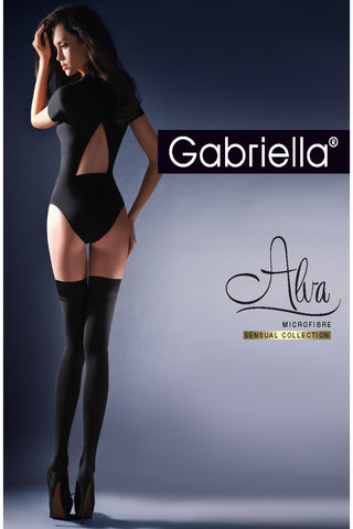 Gabriella Calze Alva Hold Ups Nero | Angel Clothing